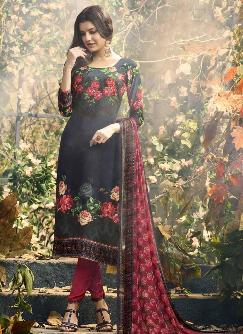 Digital Print Work Crepe Silk Grey and Navy Blue Pant Style Straight Salwar Kameez