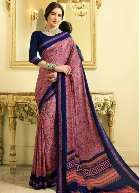 Digital Print Work Crepe Silk Hot Pink and Navy Blue Contemporary Style Saree