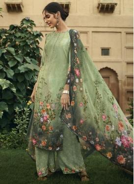 Digital Print Work Crepe Silk Palazzo Style Pakistani Salwar Kameez