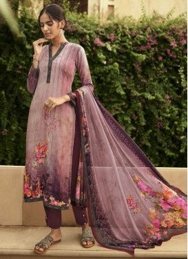 Digital Print Work Crepe Silk Pant Style Pakistani Salwar Kameez