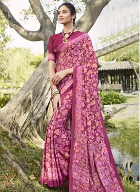 Digital Print Work Crepe Silk Trendy Classic Saree For Casual