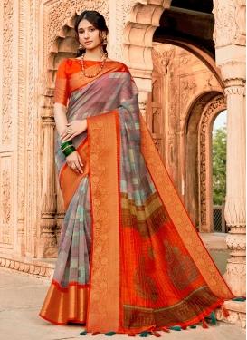 Digital Print Work Designer Contemporary Saree