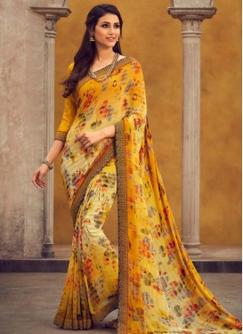 Digital Print Work Designer Contemporary Saree For Casual