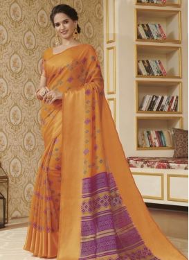 Digital Print Work Designer Contemporary Style Saree