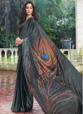 Digital Print Work Designer Contemporary Style Saree