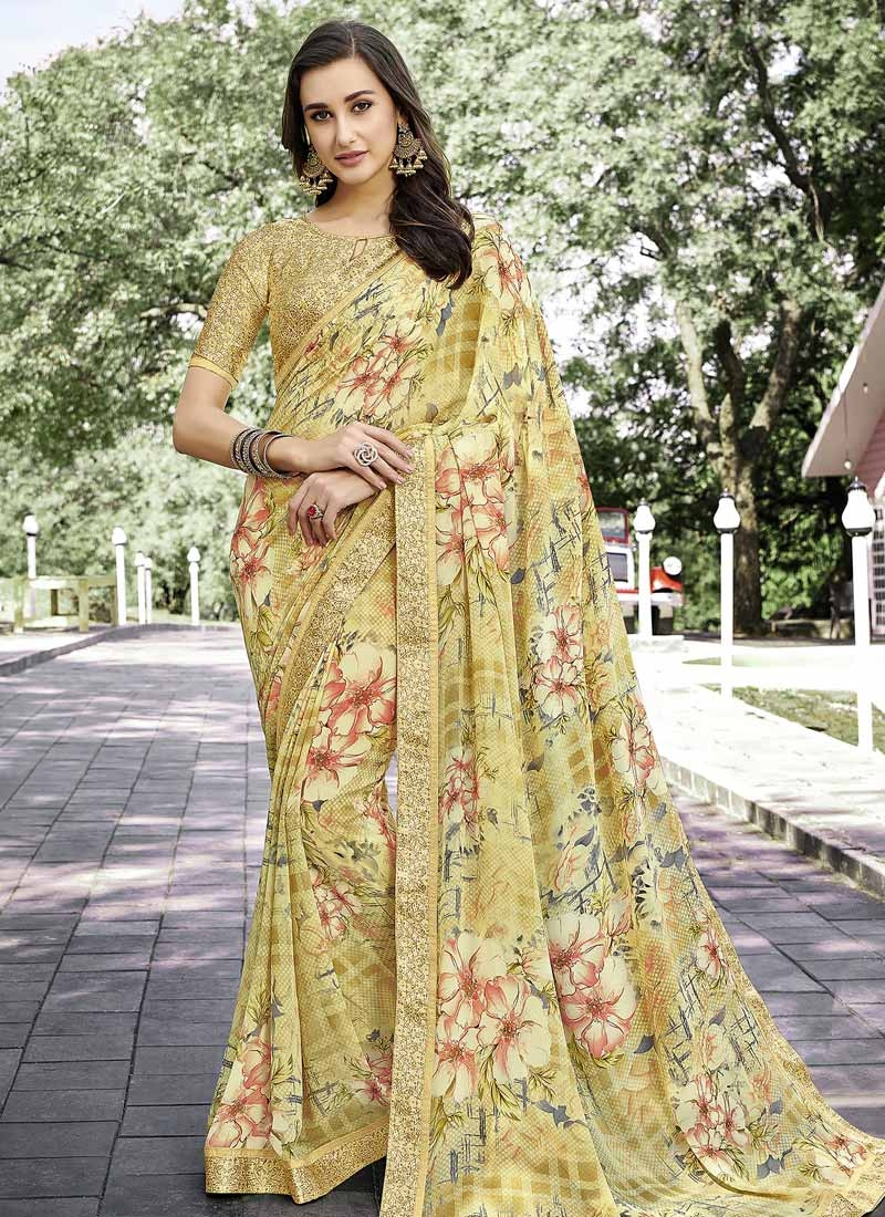Digital Print Work Designer Contemporary Style Saree For Casual