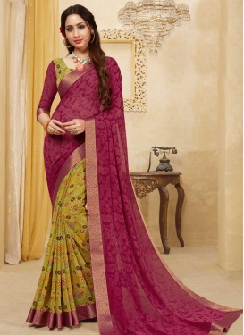Digital Print Work Designer Half N Half Saree For Ceremonial