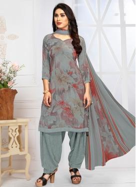 Digital Print Work Designer Semi Patiala Salwar Suit