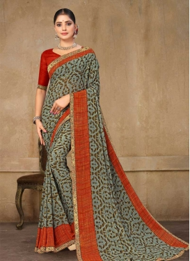 Digital Print Work Designer Traditional Saree
