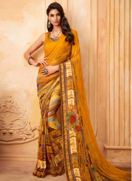 Digital Print Work Designer Traditional Saree For Casual