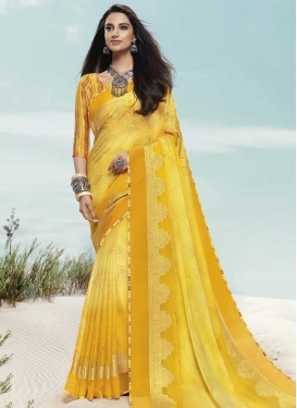 Digital Print Work Faux Chiffon Designer Contemporary Saree For Ceremonial