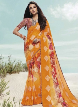 Digital Print Work Faux Chiffon Designer Contemporary Style Saree