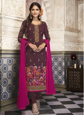 Digital Print Work Faux Georgette Churidar Salwar Kameez