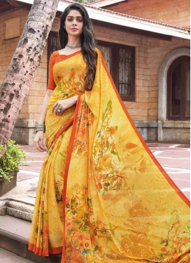 Digital Print Work Faux Georgette Classic Saree