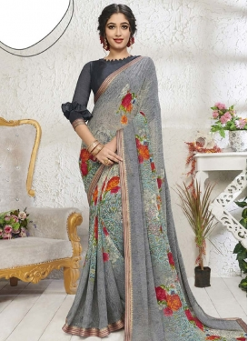Digital Print Work Faux Georgette Designer Contemporary Style Saree For Casual