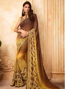 Digital Print Work Faux Georgette Designer Traditional Saree