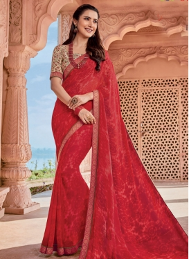 Digital Print Work Faux Georgette Traditional Designer Saree
