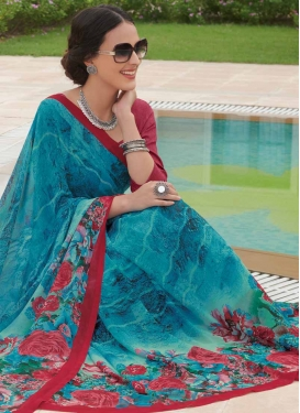 Digital Print Work Faux Georgette Traditional Designer Saree For Casual