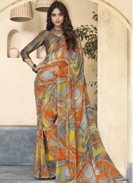 Digital Print Work Faux Georgette Trendy Saree