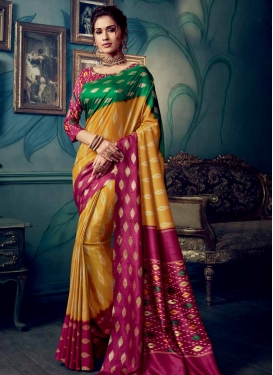 Digital Print Work Fuchsia and Green Trendy Classic Saree