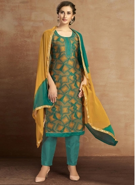 Digital Print Work Green and Mustard Pant Style Salwar Kameez