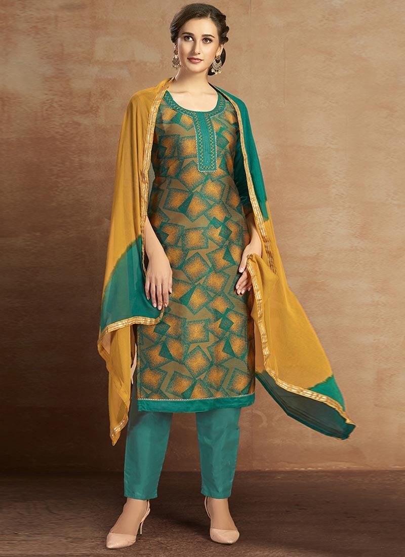Digital Print Work Green and Mustard Pant Style Salwar Kameez