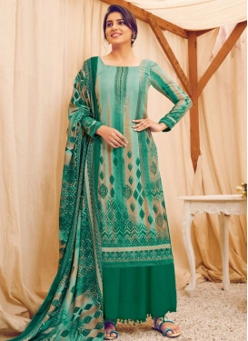 Digital Print Work Green and Turquoise Palazzo Style Pakistani Salwar Kameez