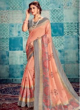 Digital Print Work Grey and Peach Traditional Designer Saree