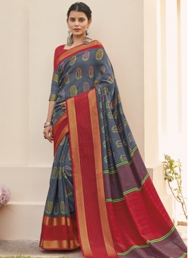 Digital Print Work Grey and Red Designer Contemporary Style Saree