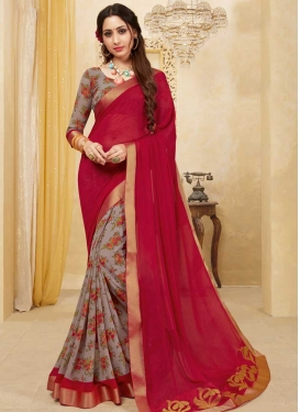 Digital Print Work Grey and Red Half N Half Designer Saree