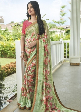 Digital Print Work Hot Pink and Mint Green Designer Contemporary Style Saree