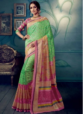 Digital Print Work Hot Pink and Mint Green Trendy Classic Saree
