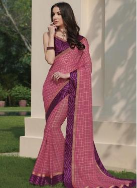 Digital Print Work Hot Pink and Purple Trendy Classic Saree