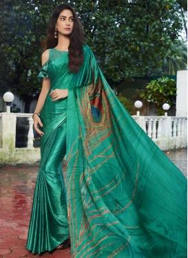 Digital Print Work Jacquard Silk Designer Contemporary Saree