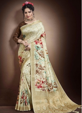 Digital Print Work Jacquard Silk Designer Contemporary Saree
