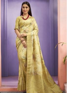 Digital Print Work Jacquard Silk Designer Contemporary Style Saree