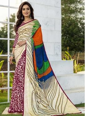 Digital Print Work Jacquard Silk Half N Half Designer Saree