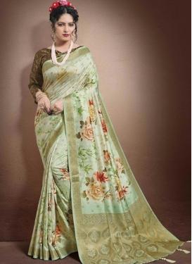 Digital Print Work Jacquard Silk Traditional Designer Saree