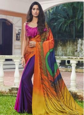 Digital Print Work Jacquard Silk Trendy Classic Saree