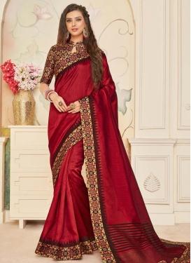 Digital Print Work Jute Silk Trendy Classic Saree For Ceremonial