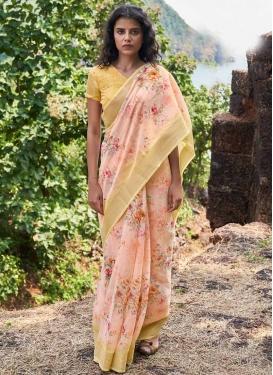 Digital Print Work Linen Designer Contemporary Saree For Casual