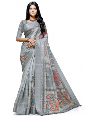 Digital Print Work Linen Designer Contemporary Style Saree