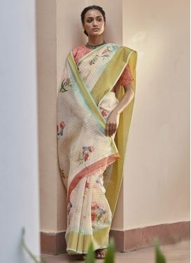 Digital Print Work Linen Designer Contemporary Style Saree