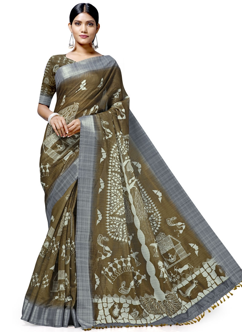 Digital Print Work Linen Designer Traditional Saree