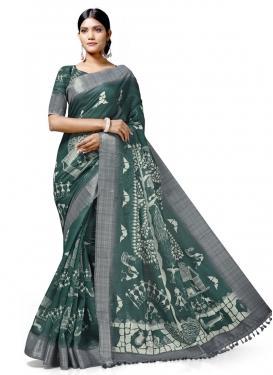 Digital Print Work Linen Designer Traditional Saree