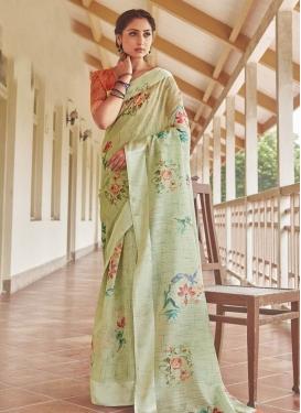 Digital Print Work Linen Trendy Classic Saree