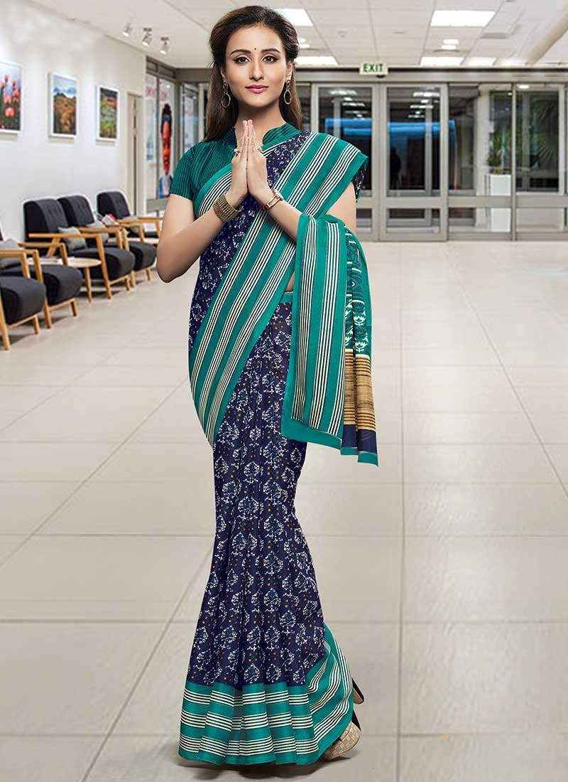 Digital Print Work Navy Blue and Teal Contemporary Style Saree