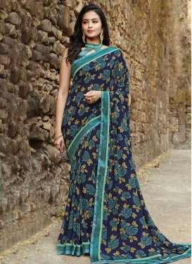 Digital Print Work Navy Blue and Teal Designer Contemporary Style Saree