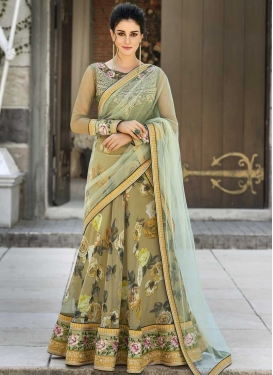 Digital Print Work Olive and Turquoise A Line Lehenga Choli
