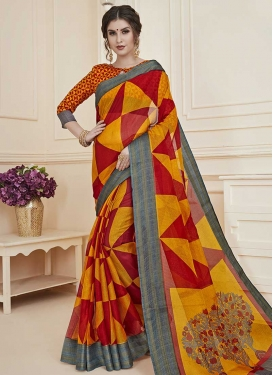 Digital Print Work Orange and Red Designer Traditional Saree